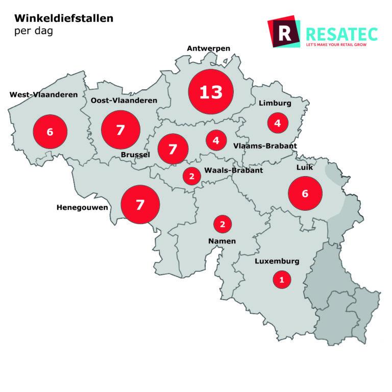 Winkeldiefstallen per dag in België